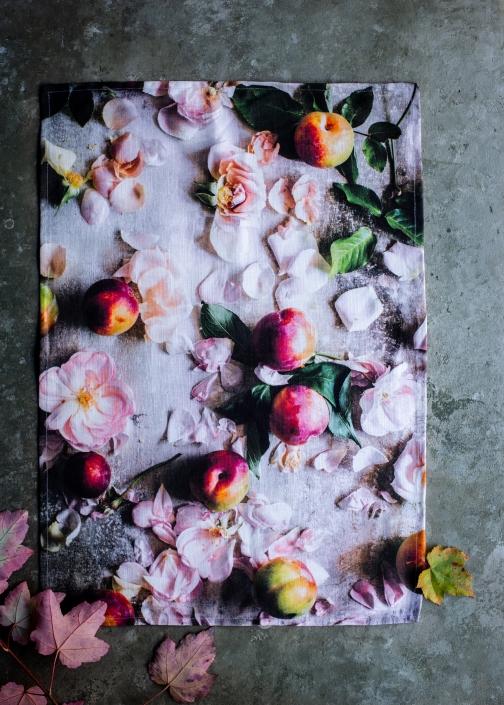 Rosy Posy Plum Tea Towel